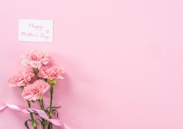 Cravos tenros bonitos e frescos de floração rosa bebê isolados em um fundo rosa brilhante, conceito de design de agradecimento do dia das mães, vista superior, lay up plana, cópia espaço, close up, mock up