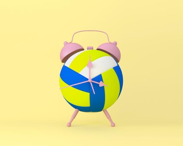 Creative idea layout despertador de voleibol no fundo pastel amarelo