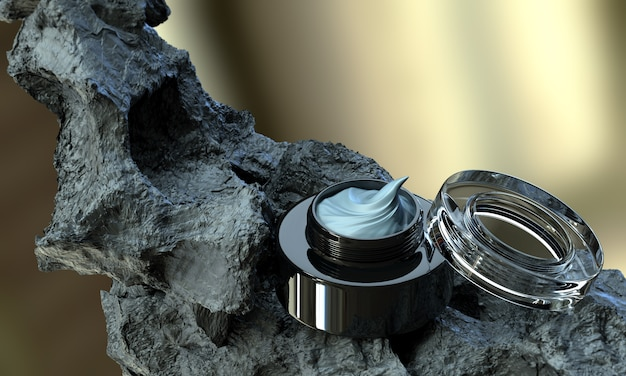 Creme cosmético da beleza dos cuidados com a pele da lama vulcânica com o frasco preto aberto