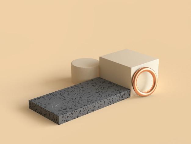 Creme piso preto forma geométrica ouro círculo 3d rendering