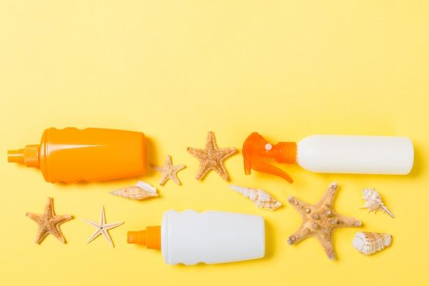 Creme protetor solar com estrela do mar e conchas