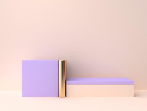 Creme violeta-roxo forma geométrica em branco pódio renderização em 3d