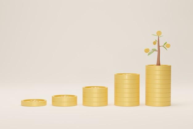 Crescimento da pilha de moedas com árvore no fundo branco. conceito de economia crescente. ilustração 3d.