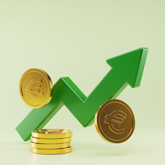 Crescimento das taxas de câmbio do euro, renderização em 3d