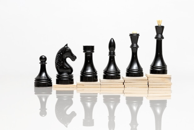 Crescimento de carreira no exemplo de peças de xadrez