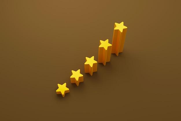 Crescimento de forma de cinco estrelas subindo degraus de escada ilustração 3d