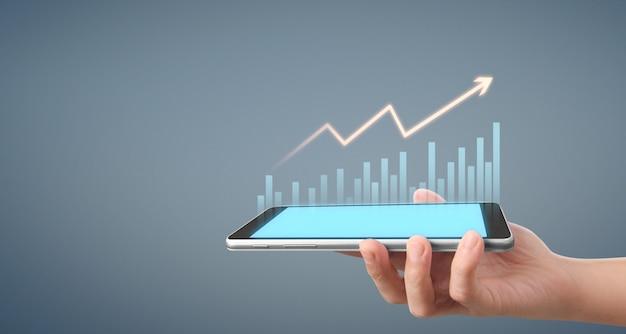 Crescimento de gráfico e aumento de negócios de gráfico