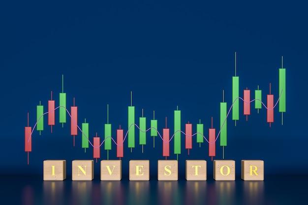 Crescimento de negócios e investimentos com gráfico de velas na renderização 3d de fundo