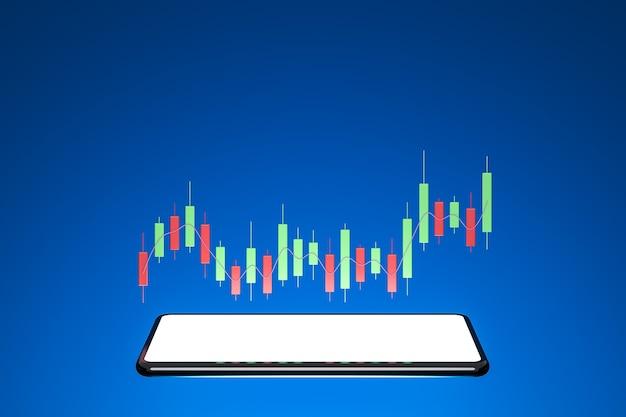 Crescimento do negócio e do investimento com tela branca do smartphone e gráfico na renderização 3d de fundo