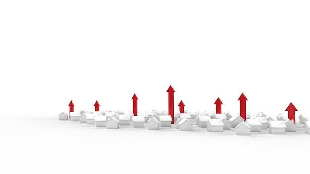 Crescimento do negócio imobiliário com seta. ilustração 3d.