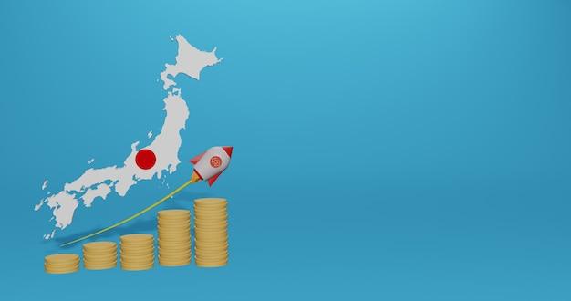 Crescimento econômico no japão para infográficos e conteúdo de mídia social em renderização 3d