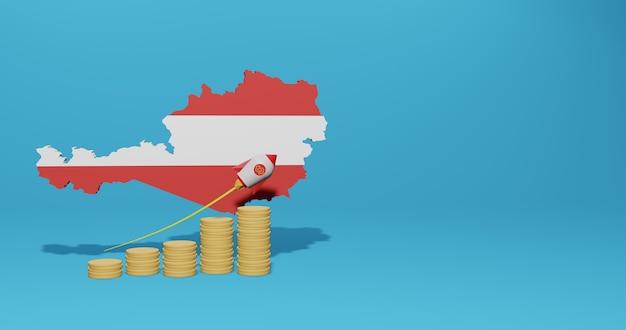 Crescimento econômico no país da áustria para infográficos e conteúdo de mídia social em renderização 3d