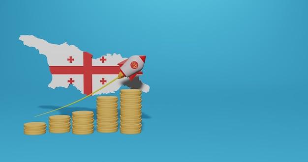 Crescimento econômico no país da geórgia para infográficos e conteúdo de mídia social em renderização 3d