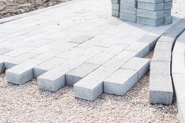 Criação decorativa de pavimento com pavimentação de blocos, pavimentação de tijolos