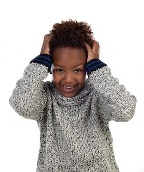 Criança africana, cobertura, seu, cabeça