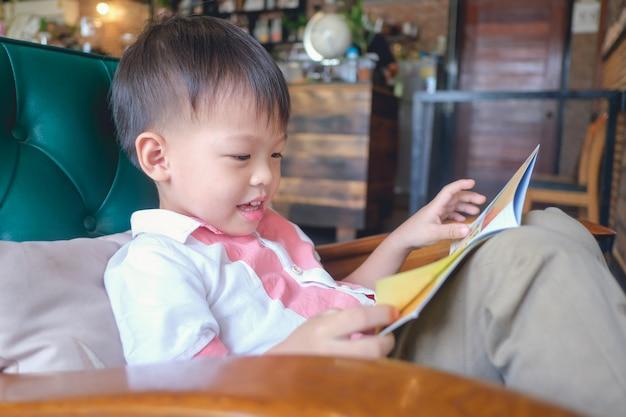 Criança asiática de 3 a 4 anos de idade, lendo um livro enquanto está sentado em uma poltrona em casa