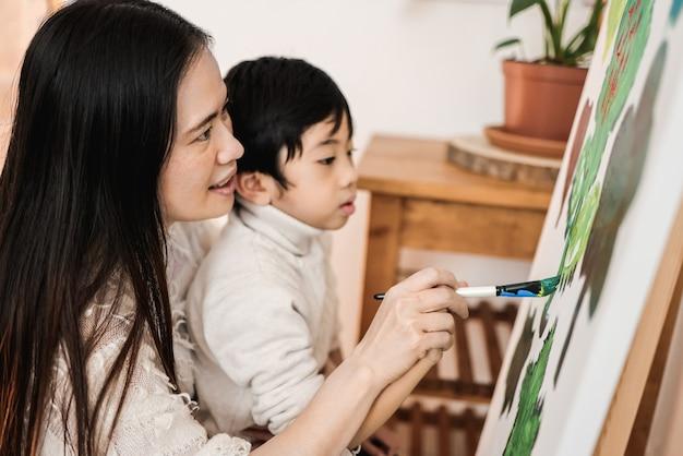 Criança asiática e mãe pintando em tela durante a aula de arte em casa - foco no olho da mulher