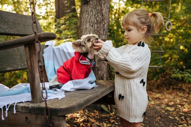 Criança brincar com cachorro engraçado na grande cadeira de madeira no jardim. criança do sexo feminino com cachorrinho posa no quintal. infância feliz