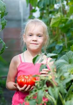 Criança coletando vegetais