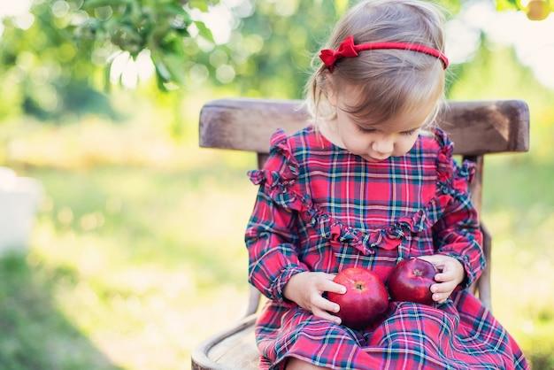 Criança colhendo maçãs na fazenda no outono.