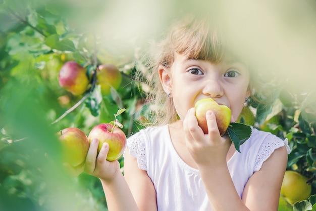 Criança com criança com uma maçã. foco seletivo.