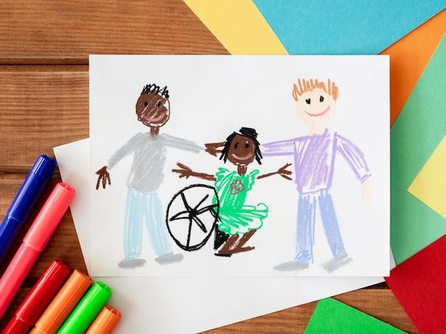 Criança com deficiência desenhada à mão e amigos