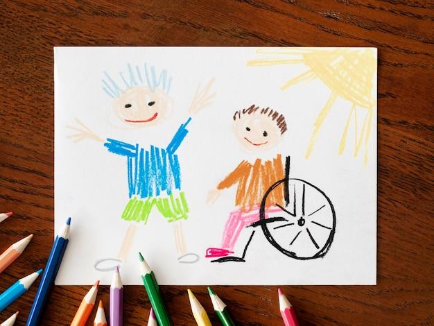 Criança com deficiência e vista superior do amigo