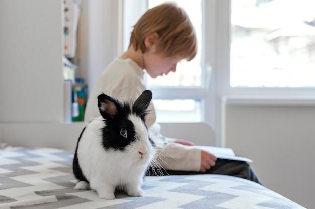 Criança com tiro médio segurando coelho