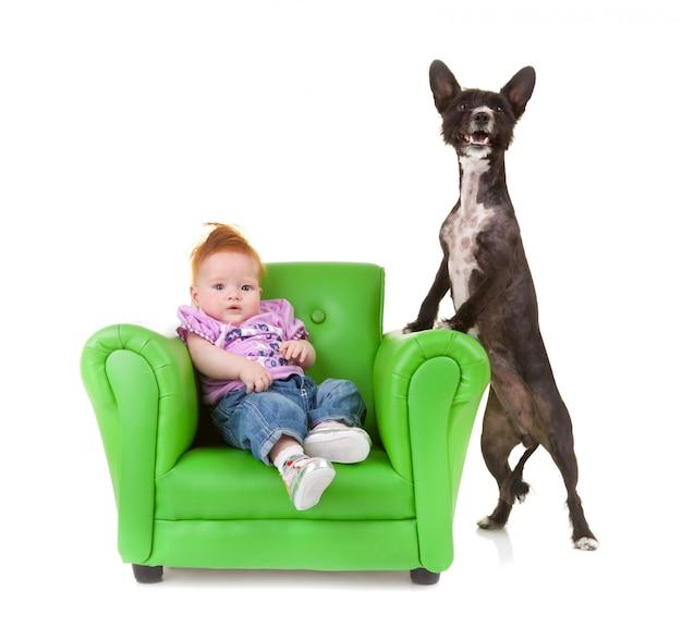 Criança com um pequeno cão preto.