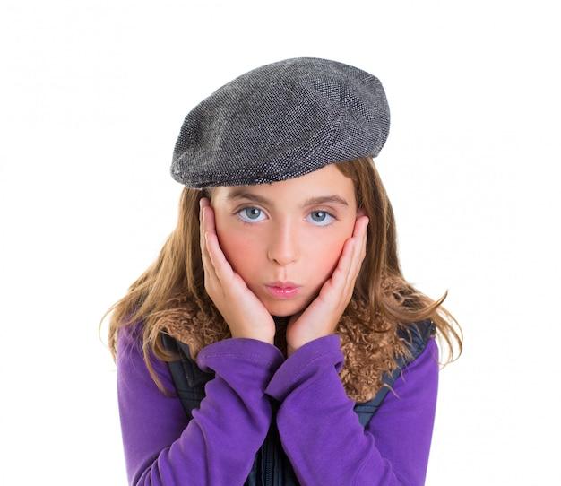 Criança, criança, menina, rosto, expressão, de, surpresa, mãos face