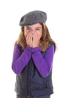 Criança, criança, tímido, menina, sorrindo, escondendo, dela, rosto, com, mão