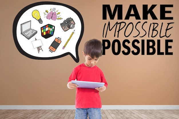 Criança criativa com frase inspirada