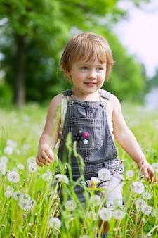 Criança de dois anos em dentes-de-leão
