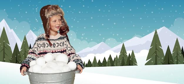 Criança de tiro médio com chapéu de inverno