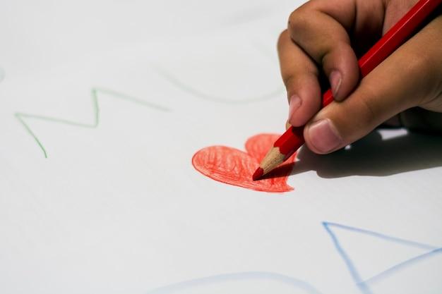 Criança, desenho, vermelho, coração, vermelho, cor, lápis