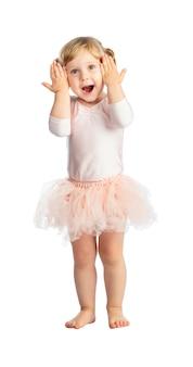 Criança do sexo feminino isolada com tutu