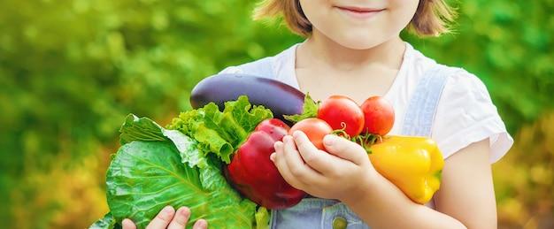 Criança e legumes na fazenda. foto.