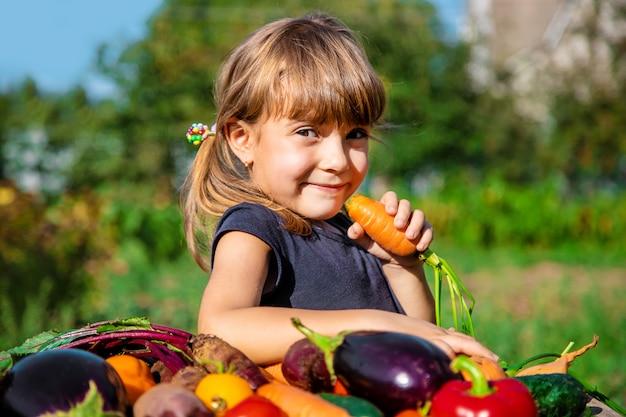 Criança e vegetais na fazenda. foco seletivo.