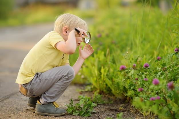 Criança encantadora, explorar a natureza com lupa