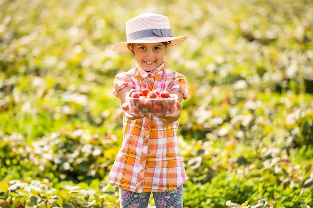 Criança feliz colhendo e comendo morangos em uma plantação