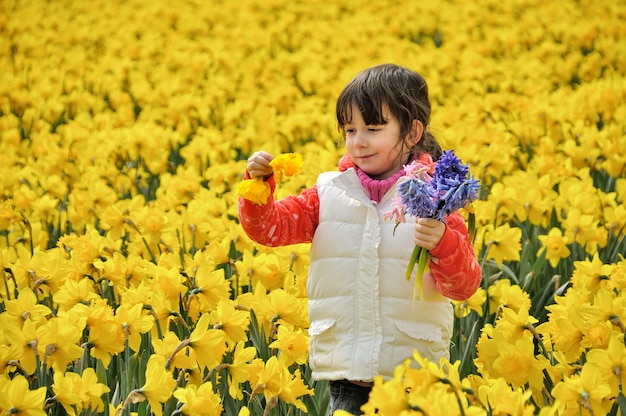 Criança feliz com flores da primavera no campo de narcisos amarelos, menina em viagem de férias na holanda