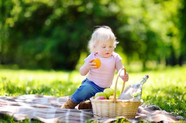 Criança linda criança fazendo um piquenique no parque ensolarado