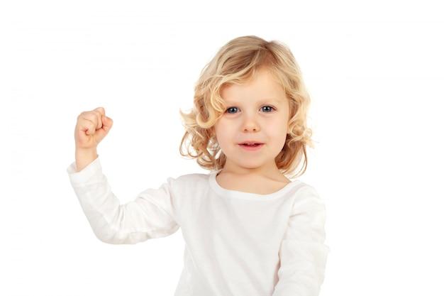 Criança, mostrando, seu, forte, bíceps