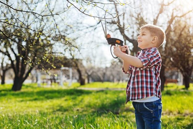 Criança positiva de cabelos castanhos trabalhando em um jardim em um dia ensolarado de primavera e cuidando de árvores frutíferas com uma tesoura
