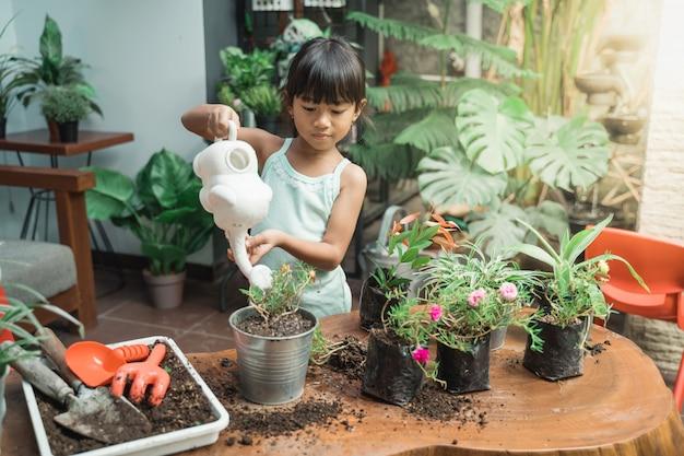 Criança regando algumas plantas em casa