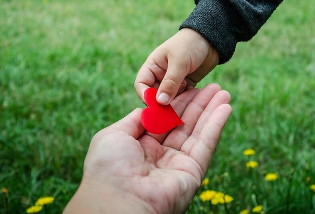 Criança segurando um coração vermelho da mão do pai