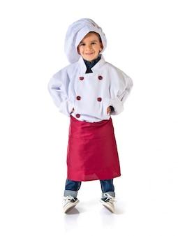 Criança, vestido, como, um, cozinheiro chefe