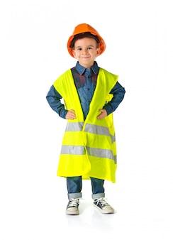 Criança, vestido, como, um, trabalhador