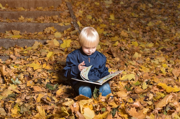 Criança vira as páginas do livro. rapaz senta-se na floresta de outono e lendo.