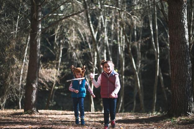 Crianças alegres que correm em madeiras